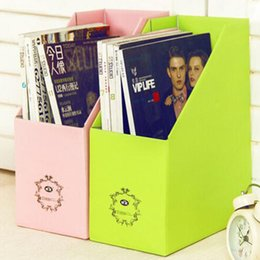 Wholesale File Box Storage Organizer - 2017 new Pure color thickening reinforce paper document frame ,File magazine desktop storage box free shipping