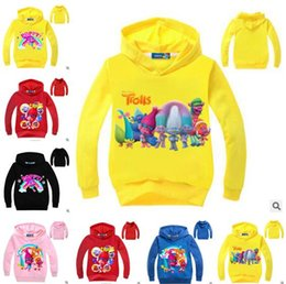 Wholesale Sweater Hoodie Children - Trolls Cartoon Hoodies Children Costume Sweatshirts Girls' Movie Poppy Girls Terry Cotton Topwear Kids Long Sleeve Sweater Boys Outerwear