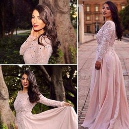 Wholesale Charming Line Prom Dress - 2017 Charming Custom Made Blush Pink Long Sleeves Evening Dresses Lace Beaded Appliques Vestidos De Fiesta Prom Gowns Arabic Dubai Parties