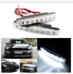 Wholesale Drl Super - Free shipping 4PCS 8 LED Universal Car Light DRL Daytime Running Head Lamp Super White Color