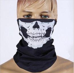 Wholesale Half Balaclava - unisex Halloween Cosplay Bicycle Ski Skull Half Face Mask Ghost Scarf Bandana Neck Warmer Party headband Magic Turban balaclava 1000pcs lot