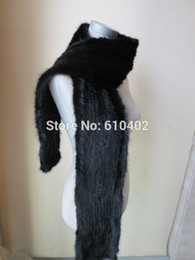 Wholesale men mink - Wholesale- wholesale sell retail Free shipping   man's real mink knitted fur scarf  black(170cm*15cm