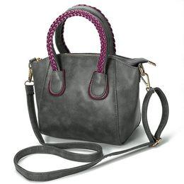 Wholesale Woven Crossbody Bag - Elegant Women's Trapeze Bag High Quality Leather Handbags Zipper Knitting Weave Shoulder Crossbody Bag for Women