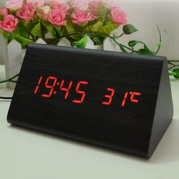 Wholesale Desk Clock Thermometer - Wooden Desk Alarm Clock Classical Triangular Blue Digital LED Wood Thermometer With Retail Box High Quality 0703069