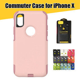 Wholesale Iphone Phone Belt Clips - for iPhone X 8 Commuter Phone Case Shockproof TPU+PC Hybrid Case Cover for iPhone 7 Galaxy S8 S8Plus with Clip Belt Retail Packaging