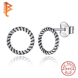 Wholesale Circular Studs - BELAWANG Hot Fashion 100% 925 Sterling Silver Forever Circular Stud Earrings For Women Authentic Original Jewelry Gift