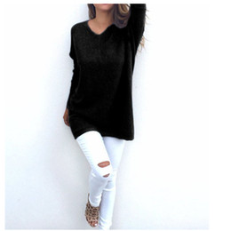Wholesale Wholesale Grey Jumpers - Wholesale- Brand New Casual Loose Long Sleeve Sweater Women V-neck Knitwear Pullover Jumper Tops Blusas feminino Pink White Black Grey