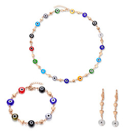Wholesale Bracelet Stainless Steel Evil Eye - Fashion african beads jewelry set with evil eyes stainless steel gold plated jewelry sets for women wholesale FS-022