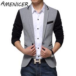 Wholesale Suite Jackets - Wholesale- New Slim Fit Casual jacket Cotton Men Blazer Jacket Single Button Gray Mens Suit Jacket 2016 Autumn Patchwork Coat Male Suite