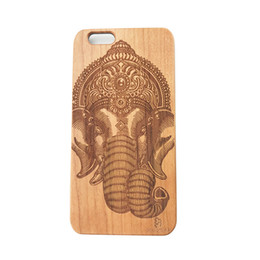Wholesale Cool Apple Skins - Natural Wood Cellphone PC Back Cool Case For iPhone 5 5S SE 6 6S 6PLUS 7 Wooden Protector Coque Skins 3D Animal Carved