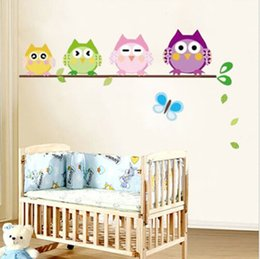 Wholesale Decal Baby Room Owl - 4 Owls Butterfly Wall Decal Sticker for Kids Nursery Baby Room Decor Vinyl B lxl