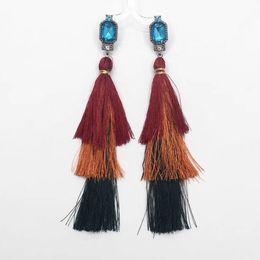 Wholesale Fringe Charm - Bejewelled earrings with fringe fashion long multi layered tassel earrings with rhinestone mixed color layered fringe earrings