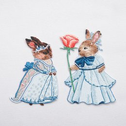 Wholesale Wholesale Iron Princess Patches - Embroidered Rabbit Bunny Patch for Clothing Iron on Applique Clothes Rabbit Princess Stickers Bags Shirt Decoration Badge DIY Patches