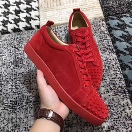 Wholesale Cheap Gingham - 2017 Luxury Brand Men Trainers Low Top Loubs Junior Spike Flats Red Bottom Sneakers Women Casual Walking Cheap Discount Sale