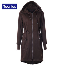 Wholesale Hooded Drawstring Jacket - Wholesale- 2017 Winter Casual Loose Long Hoodies Straight Drawstring Waist Overcoat Hooded Jackets Cotton Thick Plus Size S-2XL Tracksuits
