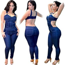 Wholesale Denim Sexy Jumpsuit - Woman Fashion Harness Jeans 2017 Summer Women Slim Sexy Nightclub Mid Waist Denim Pencil Pants Woman Bodycon Jumpsuits After The zipper