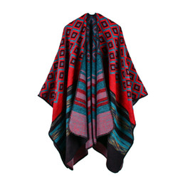 Wholesale Oversized Scarf Pattern - Hot Sale Women Outwear Winter Geometric pattern Scarves Shawls New Fashion Lady Capes Oversized Knitted Poncho RO17003