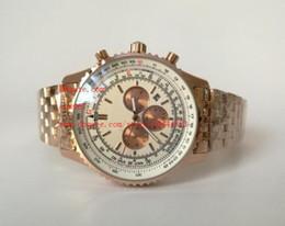Proveedores de oro blanco online-Proveedor de fábrica Relojes de pulsera de lujo de calidad superior 44mm oro rosa Cuarzo Cronógrafo esfera blanca Relojes para hombre de acero inoxidable para hombres