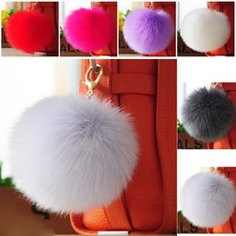 Wholesale Metal Clutches Wholesale - Hot Sale 6CM Super Round Metal Key Chains Faux Rabbit Hair Bulb Fur Plush Poms Ball Bag Car Ornaments Bag Accessories Multicolors - F008