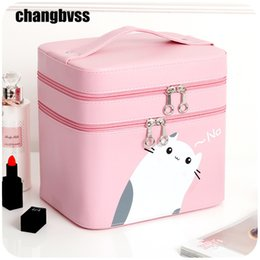 Wholesale Desktop Cute Box - Candy Color Desktop or Portable Travel Cosmetic Storage Bag Jewelry Box Large Capacity Cosmetic Makeup Organizer Cute Cat Makeup Storage Box
