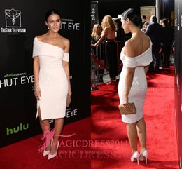 Wholesale Premiere Silver - Ivory Off-shoulder Cocktail Dresses Emmanuelle Chriqui Shut Eye TV Premiere 2016 Special Occasion Dress Knee-Length Celebrity Party Gowns