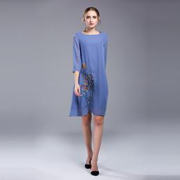 Wholesale Chiffon Plus Size Day Dresses - 2017 Plus Size Cotton Floral 3 4 Sleeves Knee-Length Midi Formal Dress Crew Neck A-line Casual Dresses Day Sunshine 3XL 4XL