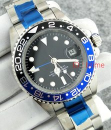 Wholesale Luxury Watches Gmt - 2017 New luxury brand GMT Ceramic Bezel Mens Mechanical Stainless Steel Automatic Movement Watch Sports Self-wind Watches Roless Wristwatch