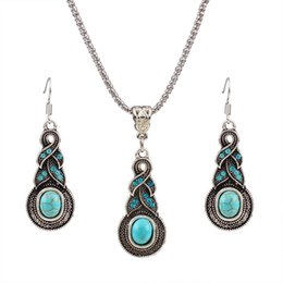 Wholesale Silver Neckalces - Top Sale Women turquoise Necklace silver plated with earrings jewelry sets for women party gift chokers statement neckalces sets
