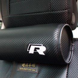 Wholesale Leather For Car Seats - Carbon fiber 2 PC set of car seat leather neck rest with headrest pillows For VW Passat B6 B7 CC Golf 5 6 7 Jetta MK5 MK6 MK7 Tiguan Scirocc