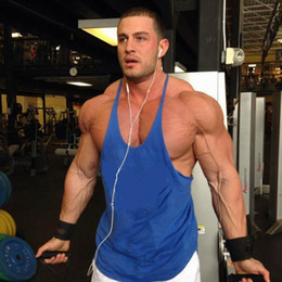 Wholesale Y Back Gym - Wholesale- Fitness Bodybuilding Tops Men Weightlifting Tank Tops Solid Cotton Stringer Y Back Racer Vest Gyms Clothing Casual Clothes
