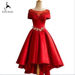 Wholesale Banquet Tea - Scoop Neck Evening Party Dress 2017 Designer Ladies Asymmetrical Banquet Dresses Tea Length Graduation Brand Gown