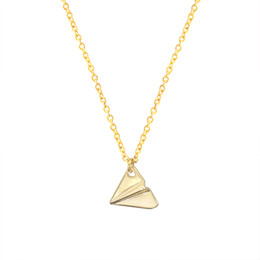 Wholesale Aircraft Necklaces - Wholesale 10Pcs lot 2017 Hot Sale Modern Jewelry Pendant Tiny Origami Aircraft Gold Chain Choker Necklace For Women
