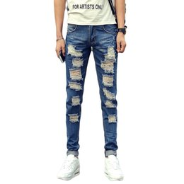 Wholesale Male Jeans Korean New - Wholesale-New Summer Men's Denim Jeans Men Ripped Hole Blue Skinny Jeans Male Slim Fit Korean Style Hip Hop Boys Trendy Pencil jeans homme