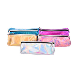 Wholesale Colors Pencil Case - Wholesale- 1PCS New Portable Small Solid PU Cosmetic Bags Candy Colors PU Cosmetic Pouch Shiny Stationery Gift Pencil Case
