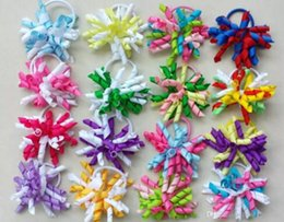 "Wholesale Wholesale Streamer Bows - 3.5"" korker ponytail hair ties holders streamer corker hair bows clip Cheer Bows Curly Ribbon Bow hair bobbles 32pcs"