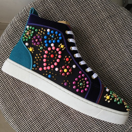 Wholesale Genuine Crystal Drop - New men womens patchwork suede with beading spikes high top casual shoes,brand design EU bottom crystal sneakers 35-47 drop shipping