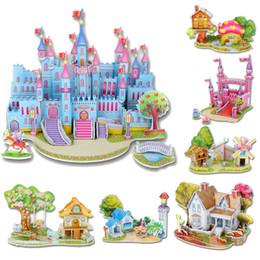Wholesale Castle Toy For Girls - Wholesale- Fashion Puzzles Cartoon Kids Educational Mosaic Toys DIY Boy Girls 3D Jigsaw Puzzle For Children Adults House Castle 3D Puzzle
