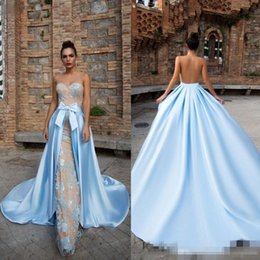 Wholesale Long Sleeve Celebrity Event Dresses - Modest 2017 Mermaid Evening Event Wears Sky Blue Lace Sweetheart Celebrity Gowns With Detachable Train Floor Length Prom Party Gowns