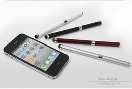 Wholesale Iphone Accessories Bundles - 500pcs 2 in 1 Stylus Pen Touch2 in Touch Screen Metal Pen two Screen Metal two colors optional Capacitance pen for IPhone Samsung