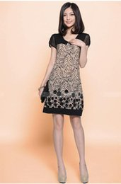 Wholesale Turtle Neck Black Lace Dress - 2016 Spring New Arrival Fashion Women Dress Printing Sleeve Loose Dresses Women Free Shipping