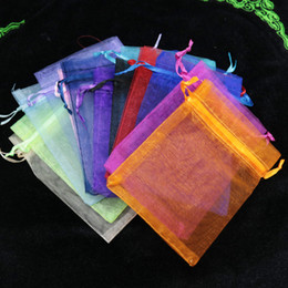 Wholesale Wholesale Sheer Gift Bags - Wholesale-Random Assorted Color 7x9cm Sheer Organza Gift Jewelry Display Packaging Bags Pouches 100pcs Small Candy Chocolate Packaging