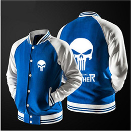 Wholesale Marvel Comic Cover - New style Comics Marvel Supper Hero--Punisher Skull character Outerwear Jacket thin jacket Anime cosplay design baseball Sports drive Jacket