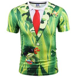 elegante camisa verde para hombre Rebajas 3D T-shirts Nice Stylish T-shirt Hombres / Mujeres Camisetas Camisetas Print Green Leaves Traje Chaqueta Fake Two Pieces 3d T-shirt Summer Tops
