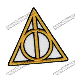 patch diy cloth Promo Codes - Wholesale Movie HARRY POTTER Symbol DEATHLY HALLOWS Embroidered Patch Iron On Garment DIY Applique Cloth Patch Free Shipping