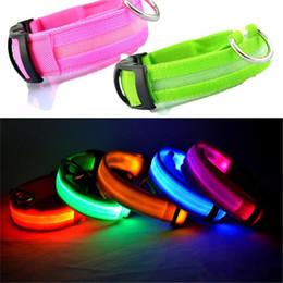 Wholesale Nylon Collars Leashes - LED Nylon Pet Dog Collar Night Safety LED Light Flashing Glow in the Dark Small Dog Pet Leash Dog Collar Flashing Safety Collar