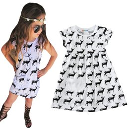 Wholesale Reindeer Christmas Costume - Baby Girls Dress Summer 2017 Fashion Reindeer Kids Dresses For Children Clothes Cartoon Animal Deer Toddler Girl Dress Costumes