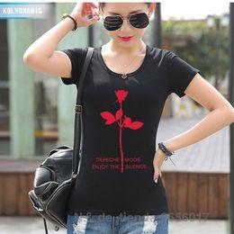Wholesale Black Bell Sleeve Dress Xs - Wholesale- 2017 Summer Women's T Shirt Depeche Mode Fashion Printing T-Shirt Enjoy The Silence Dresses For Girls Slim Hip Hop Swag Tshirts