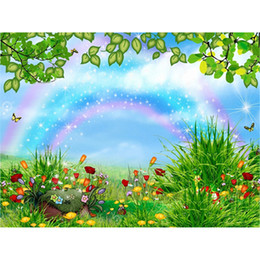 Wholesale Beautiful Green Grass - Beautiful Rainbow Photography Backdrop Fairy Tale Backdrops Colorful Flowers Green Grass Spring Scenery Kids Baby Newborn Cartoon Background