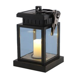 Wholesale Candle Light Restaurant - Wholesale- Outdoor LED Solar Garden Light Candle Lamps Umbrella Tree Lantern Waterproof Lights for Garden Decoration Camping Bar Restaurant