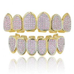 Wholesale pink body jewelry - Women Men Fangs Copper Hip Hop Full Pink Micro Cubic Zircon Grillz Luxury Top Bottom Vampire Dental Teeth Grills Halloween Gift Body Jewelry